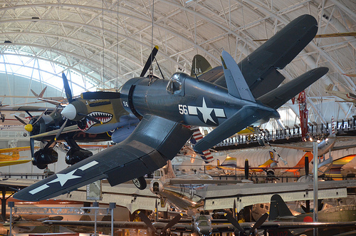 Vought F4U-1D Corsair with P-40 Warhawk in background