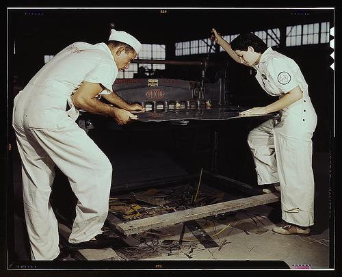 Studying to operate a cutting machine, these two NYA workers receive education to match them for critical function, Corpus Christi, Texas. Right after eight weeks they will be eligible for civil service jobs at the Naval Air Base (LOC)