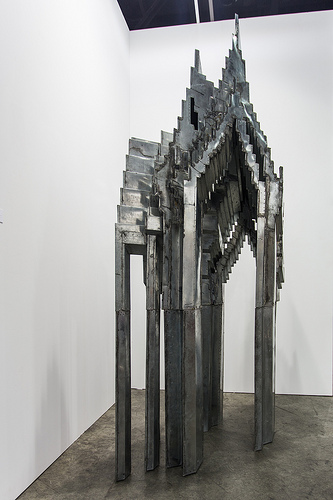 Sculpture by Tawatchai Puntusawasdi (b. 1971 Thailand): Pixelated Heaven, 2013 (hand-tooled, cut and lead-welded galvanised sheet metal) / 10號贊善裡畫廊 10 Chancery Lane Gallery / Art Basel Hong Kong 2013 / SML.20130523.6D.14249