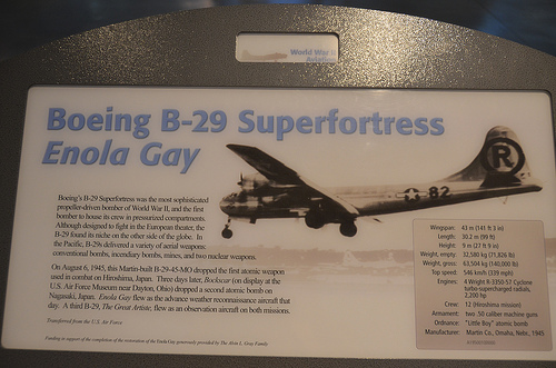 "Steven F. Udvar-Hazy Center: B-29 Superfortress ""Enola Gay"" caption"